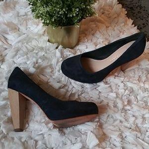 Loeffler Randall Esther wood high heels blue suede